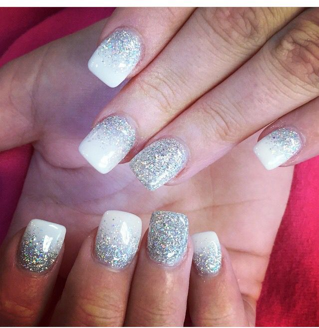 White And Silver Glitter Nails Prom Nails Silver Silver Glitter Nails Homecoming Nails