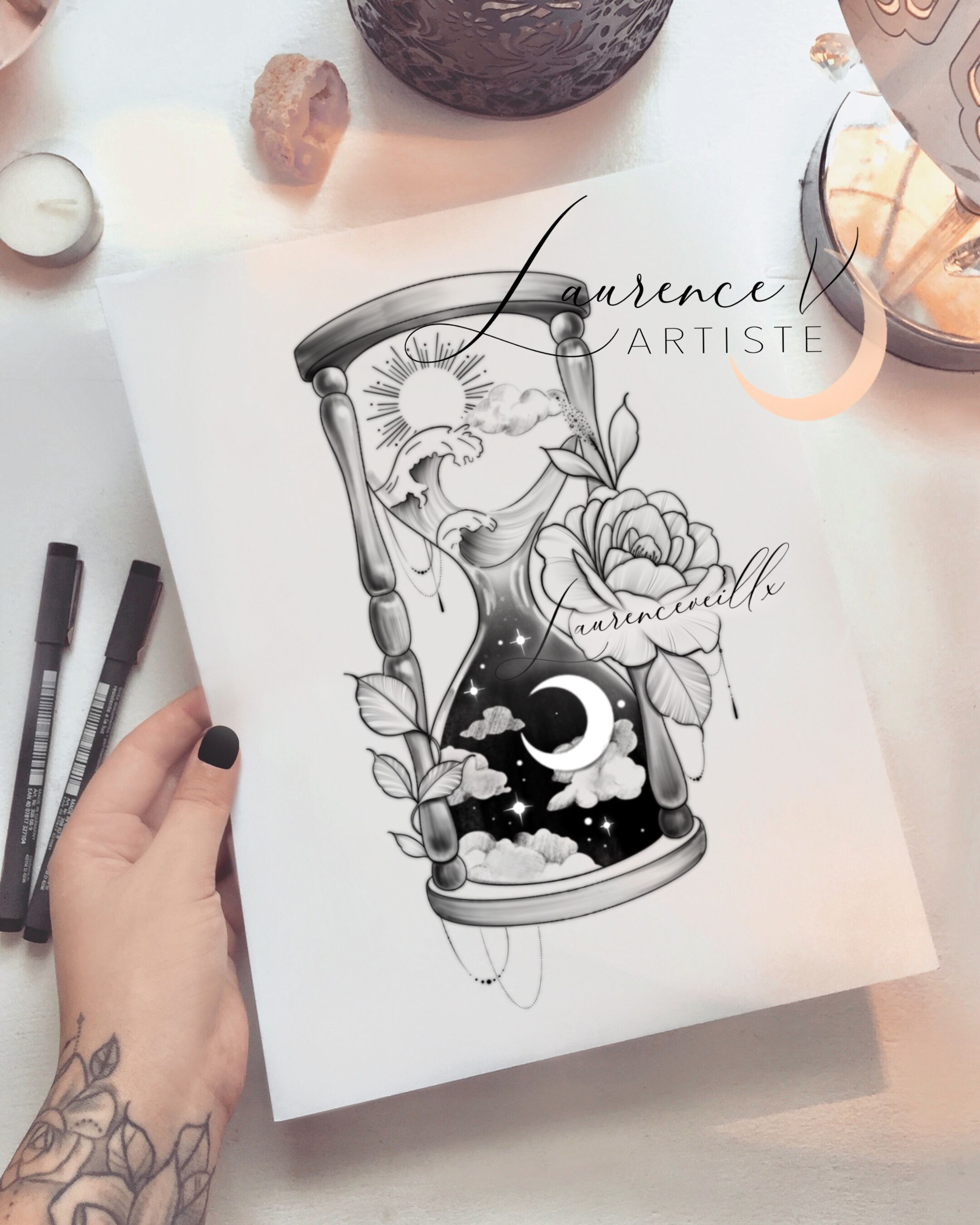 Hourglass Tattoo | Sun Moon Celestial Tattoo | Ornemental Tattoo | Tattoo Drawing | Available on Etsy