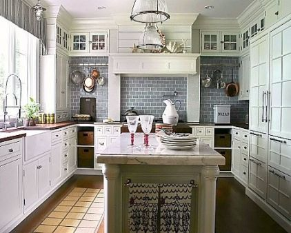 Gray subway tile might be a subtle color/texture in the room; otherwise we may end up with white-on-white-on-white!