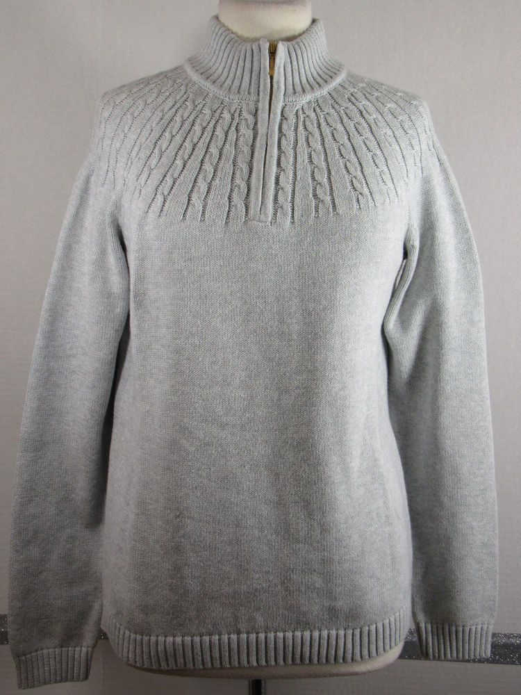 New Lands End Drifters Sweater M 10 12 Gray 14 Zip Cable Knit Trim