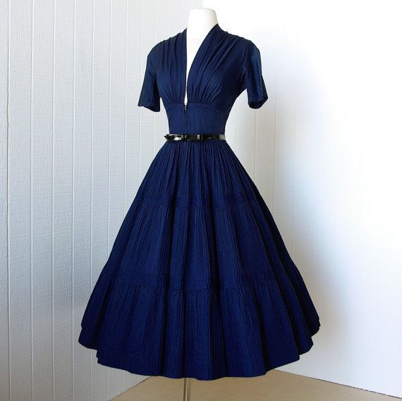 Vintage 1940 39 S Dress Vavavoom Forties Navy Cotton Full