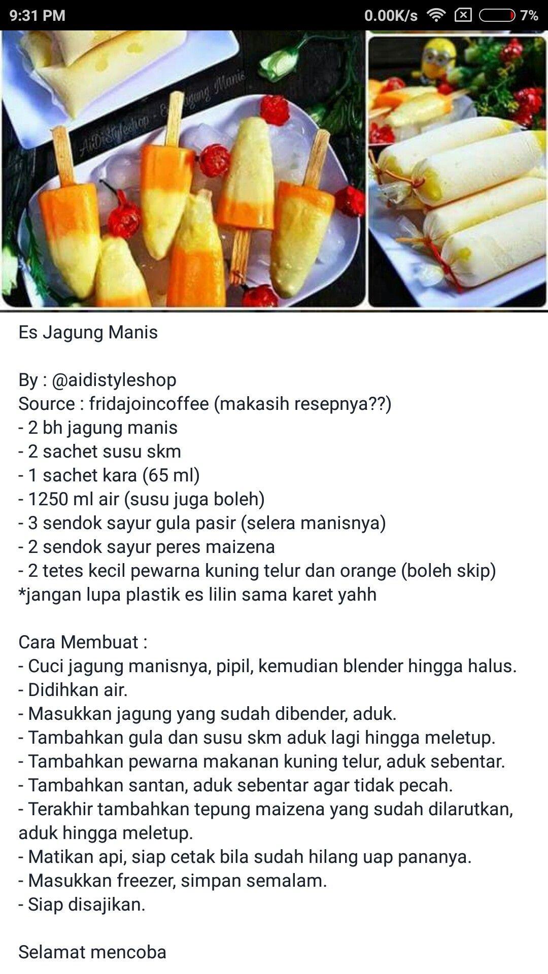 Es Jagung Manis Makanan Ide Makanan Resep Masakan