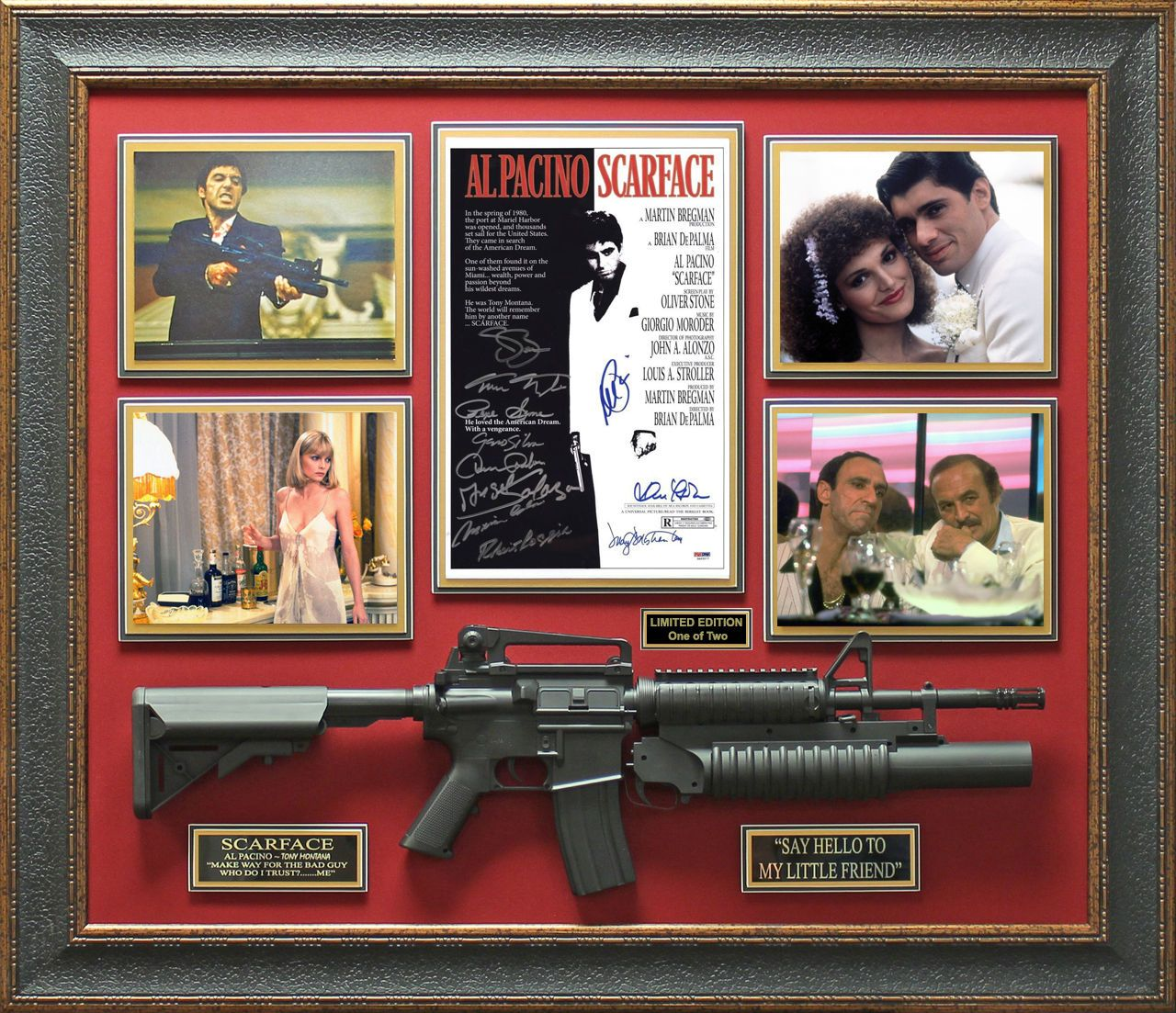 Scarface Cast Signed Movie Poster Framed Display Le 1 Of 2 Ebay