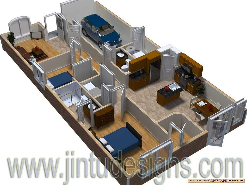 3d Home Floor Plan 3d small home floor plans smallhome houseplan 3d House Floor Plans Designs