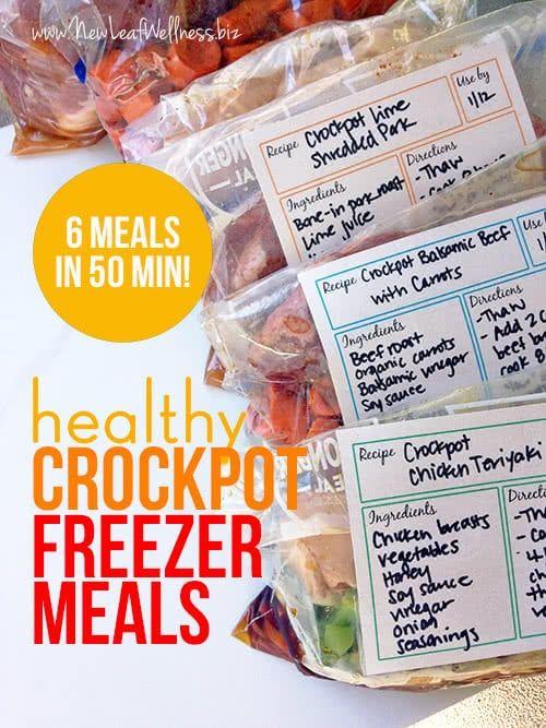 Six Healthy Freezer Crockpot Meals in 50 Minutes #crockpotmealprep