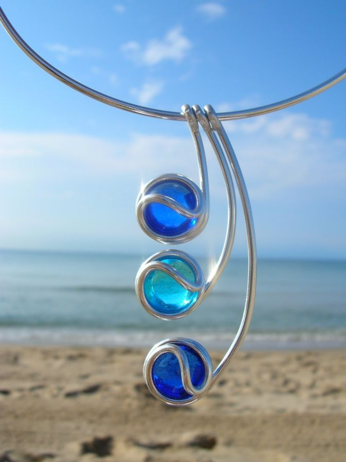 sky and sea wire pendant #wirejewelry | beads | Pinterest | Wire ...