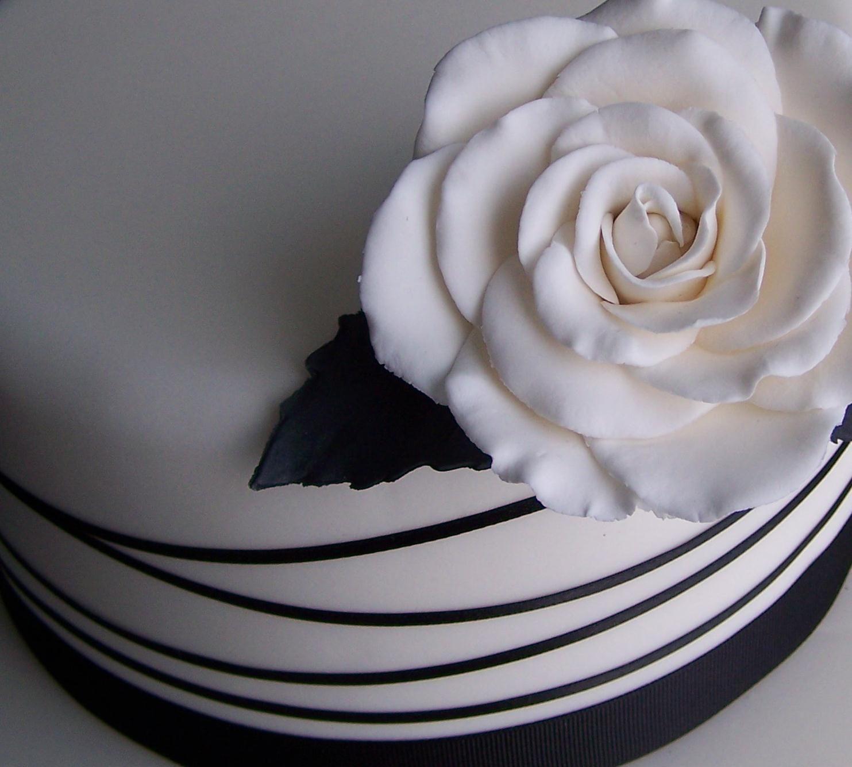 Black  white Wedding cake. White cecile brunner rose, black leaf  ribbon detail. Monochromatic by the Handmade Cake Company