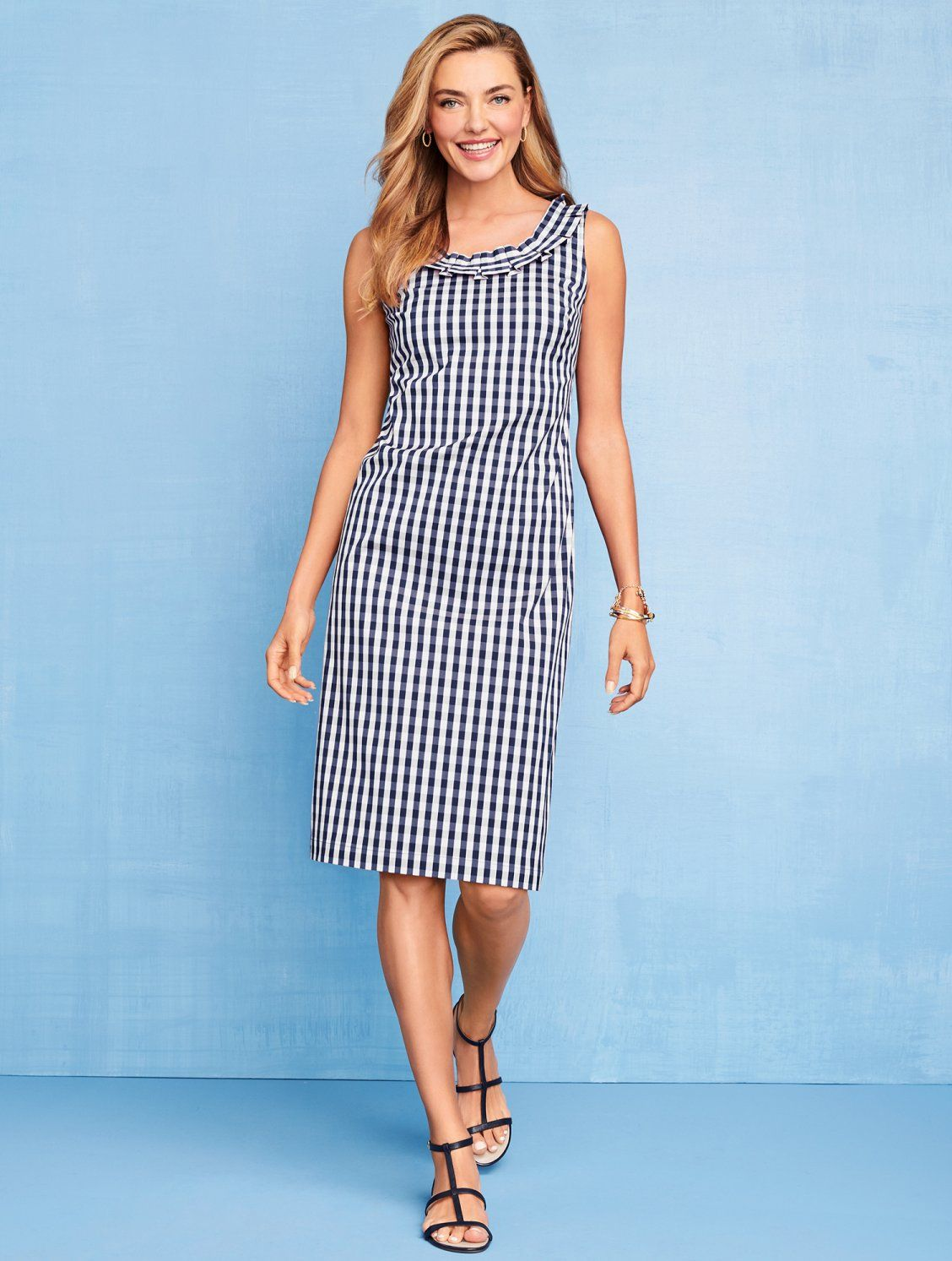 The Gingham Version Of Our Silky Smooth Sheath Features Intricate Pleated Details At The Scoop Neckli Modest Summer Dresses Simple Summer Dresses Gingham Dress [ 1493 x 1128 Pixel ]