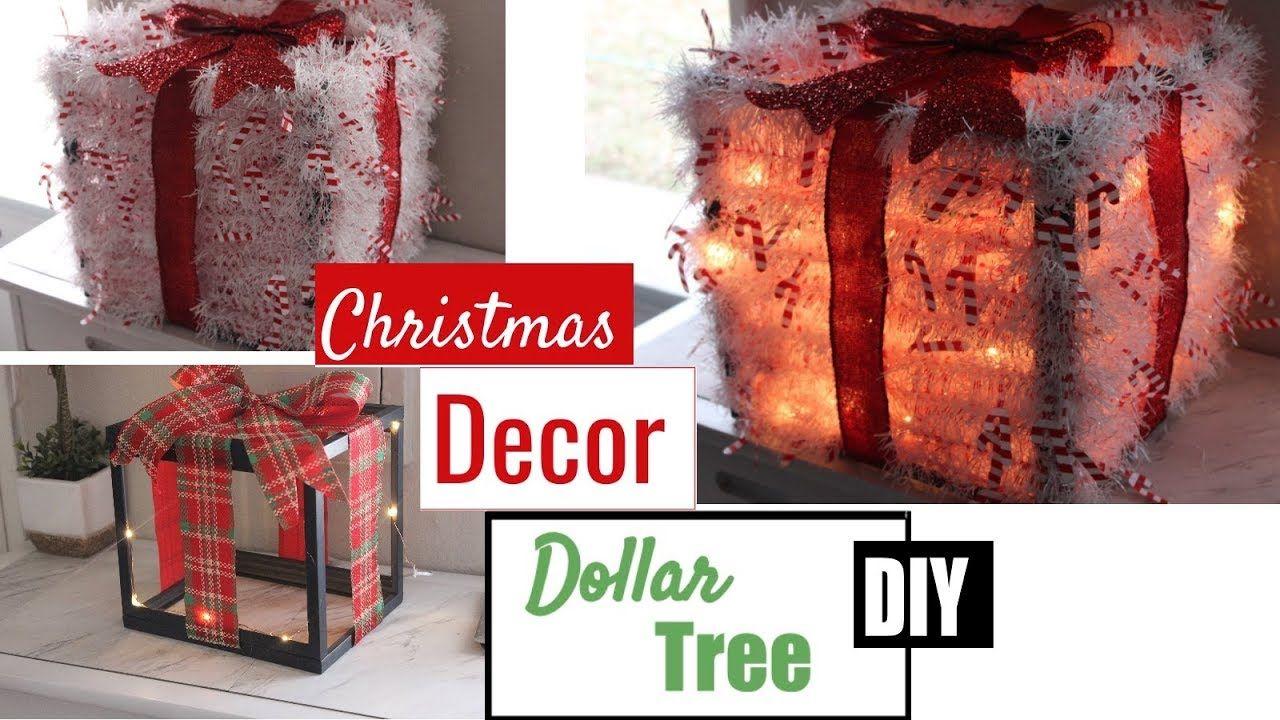 Christmas lighted gift boxes decor dollar tree diy