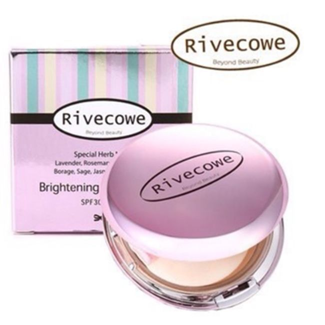 Rivecowe Brightening Pressed Powder Pact SPF 30 PA++ 12g + Free Mask Pack 017 #Rivecowe