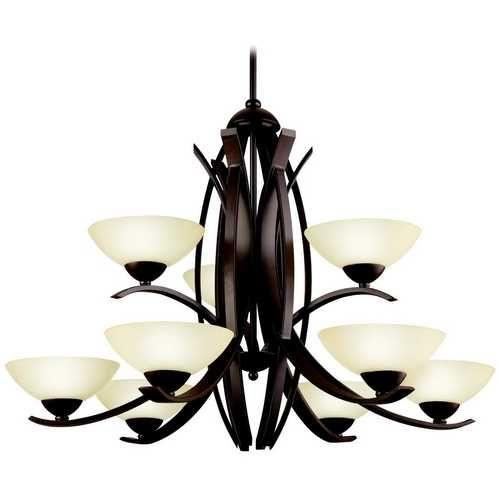 Kichler Lighting Modern Chandelier with Beige / Cream Glass in Olde Bronze Finish   42160OZ   Destination Lighting