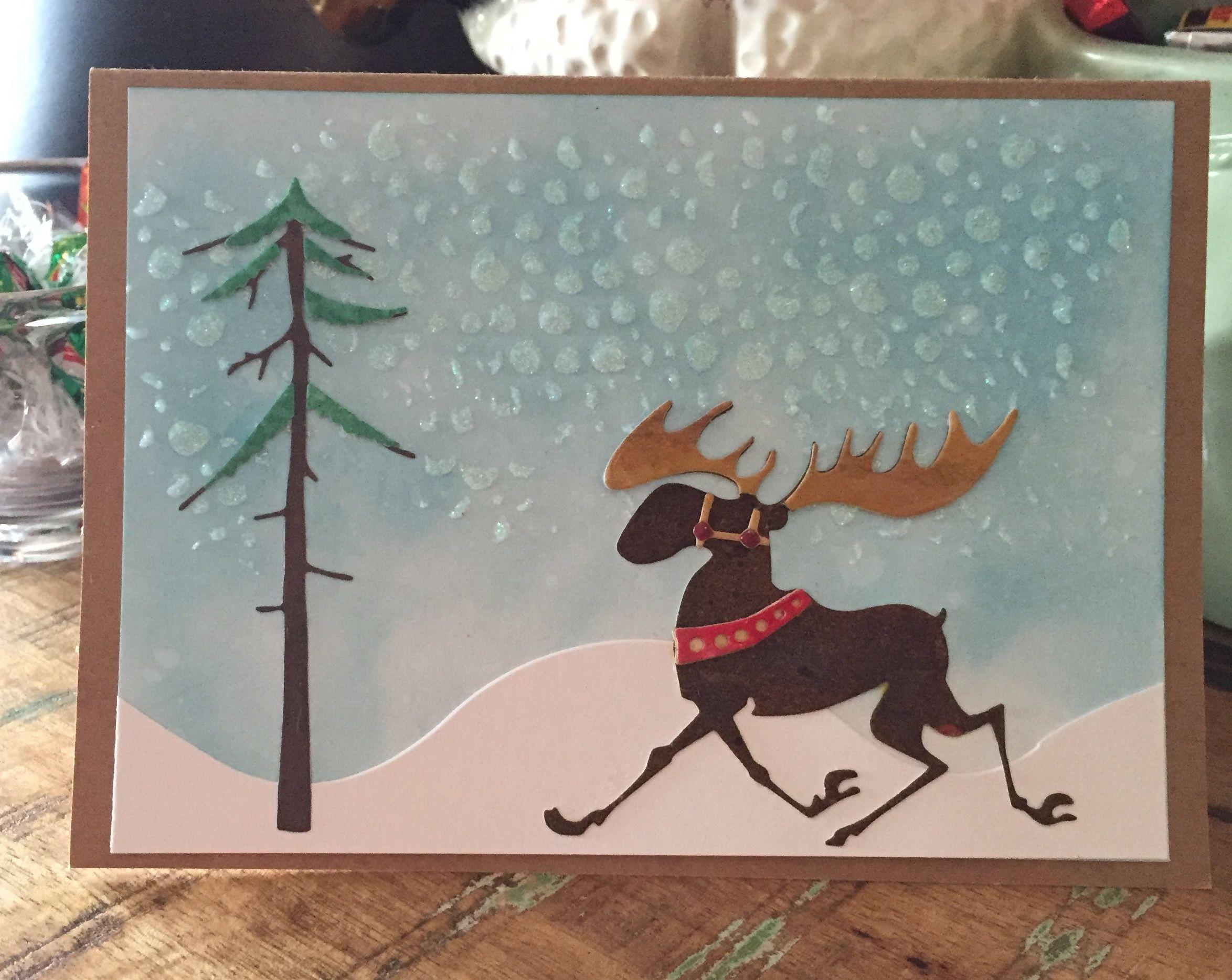 Merry Christmoose Holiday Card Christmas Moose Greeting Card Christmas Card