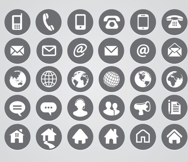 Rounded Contact Icons Design Communication Icon Resume Icons