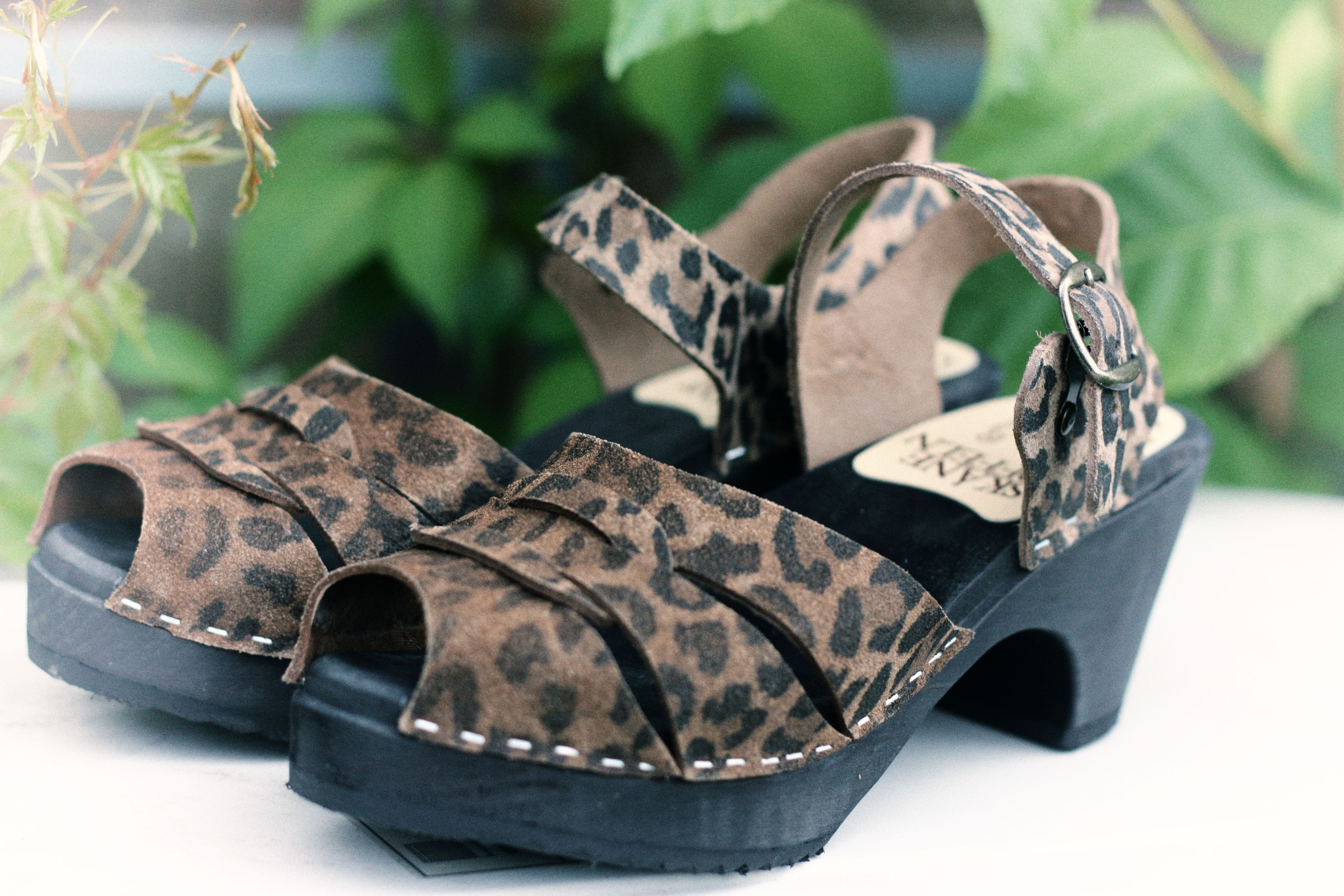 Skåne Toffeln Leopard Patterned High Heel Sandals