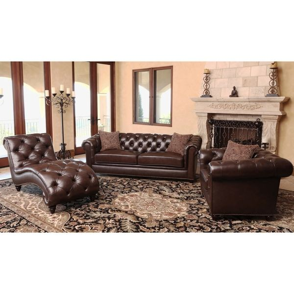 Abbyson Living Carmela Chesterfield Premium Top Grain Leather 3 Piece Set Sofa Chair And