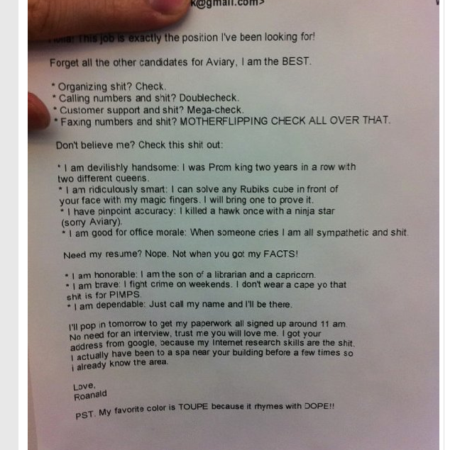 Picture taken from a post on Huffingtonpost.com) Epic Cover Letter ...