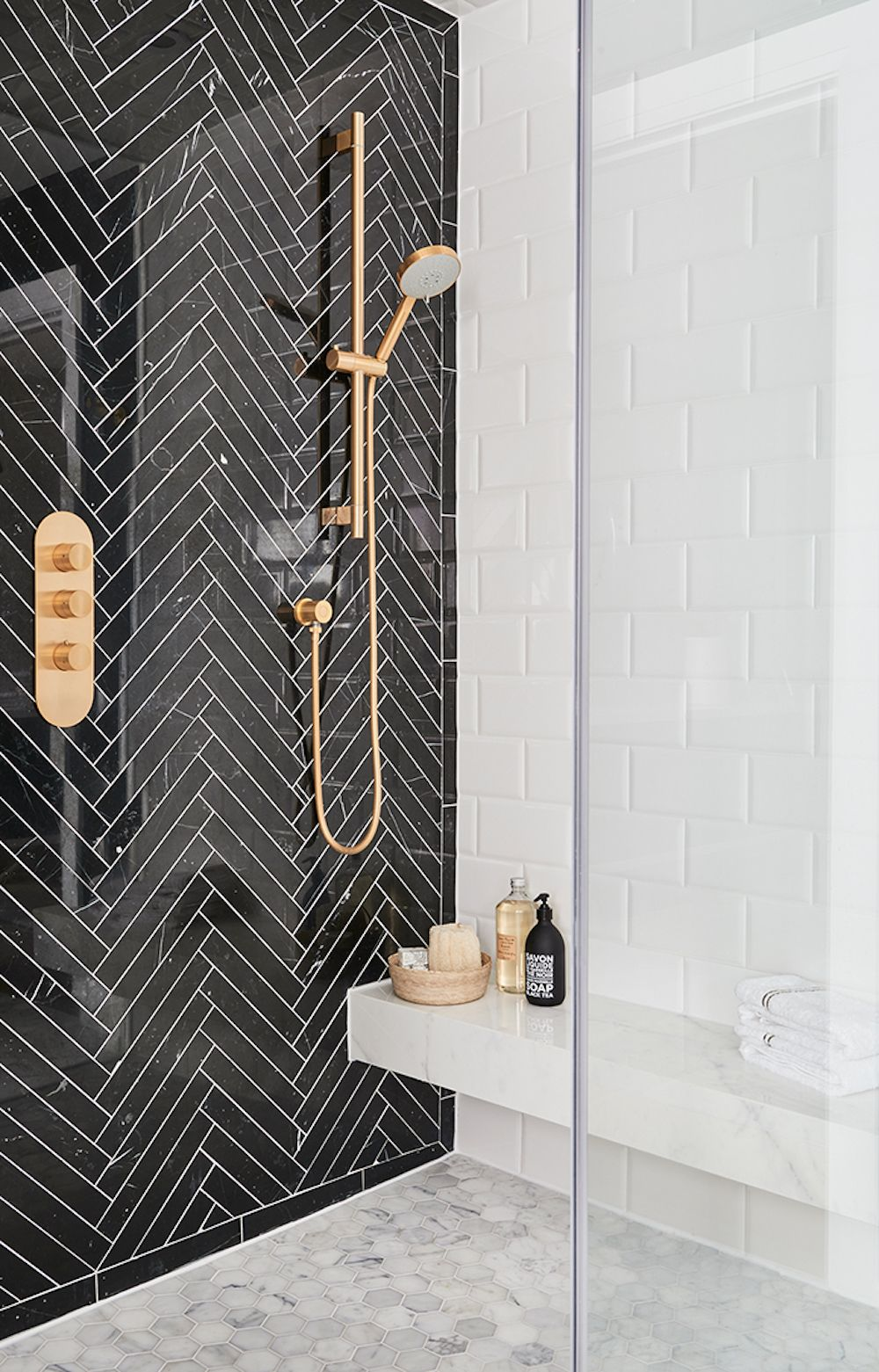 Black Herringbone Tile Feature Wall In Shower Feature Walls That