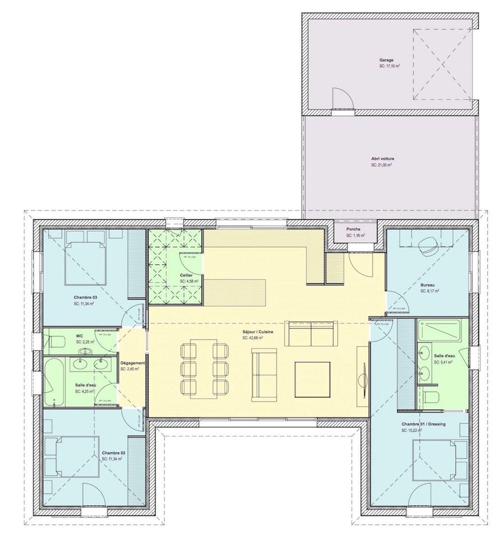 Maison U (107m2) - site web - copie | Plan maison, Plan maison plain pied, Plan maison en u