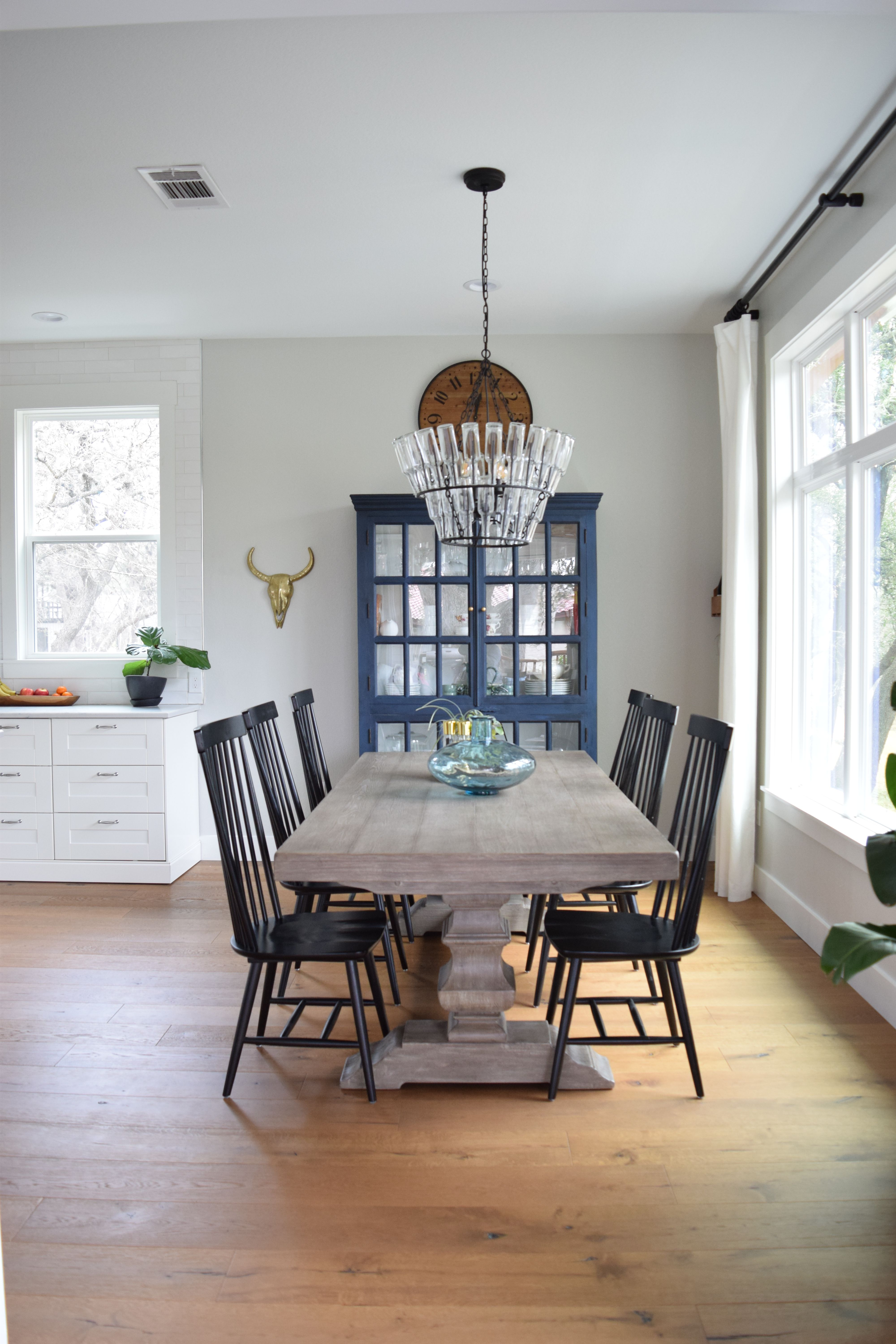 chinese dining room set high definition pics   Modern farmhouse dining room with bottle chandelier, navy ...