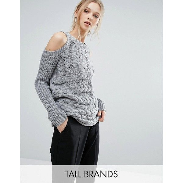Y.A.S Tall Cold Shoulder Cable Knit Jumper (605 SEK) found on ...