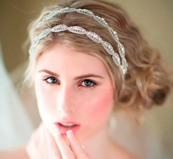 Wedding Hair Accessory Beaded Headband Bridal Double Crystal Ribbon