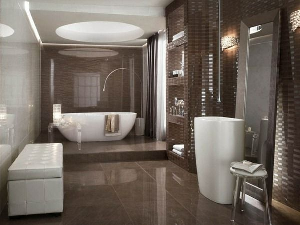 modern bathroom design ideas mosaic tiles chocolate color bath - Bathroom Design Ideas With Mosaic Tiles