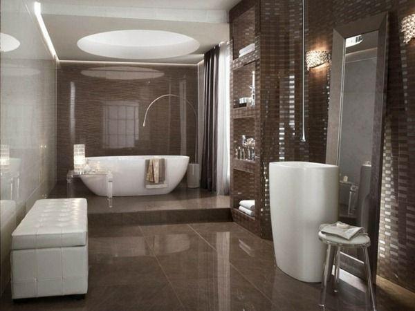 Modern Bathroom Design Ideas Mosaic Tiles Chocolate Color Bath Pictures