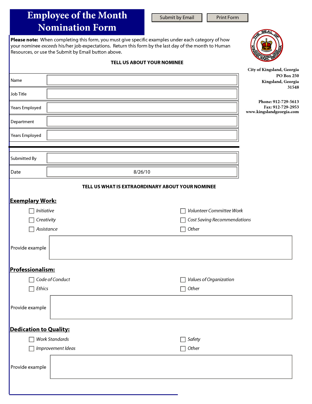 Employee of the Month Nomination Template - PDF | Auction 2014 ...