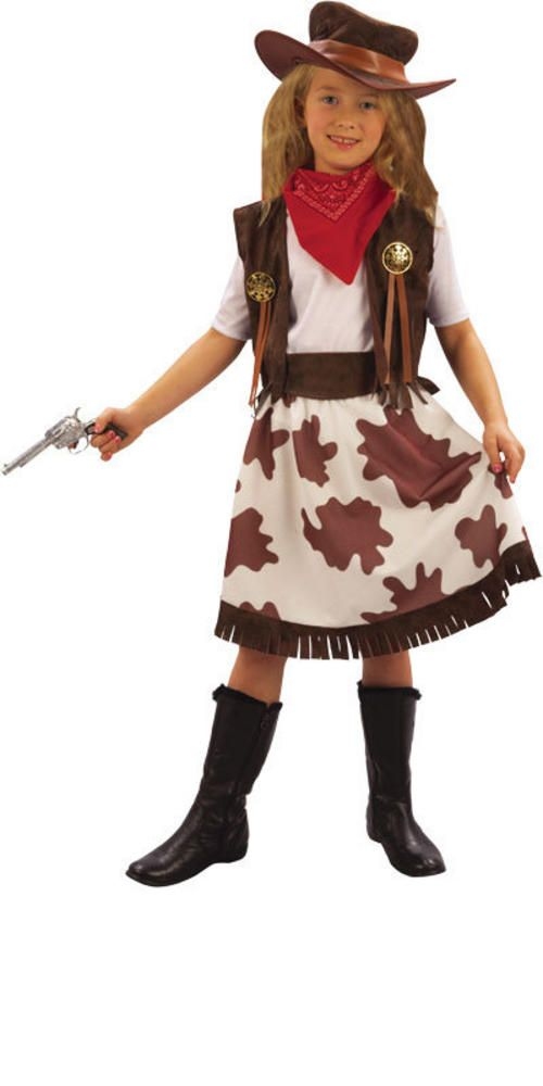 Cowgirl Childs Fancy Dress Kids Wild Western Girls Costume Outfit /& Cowboy Hat