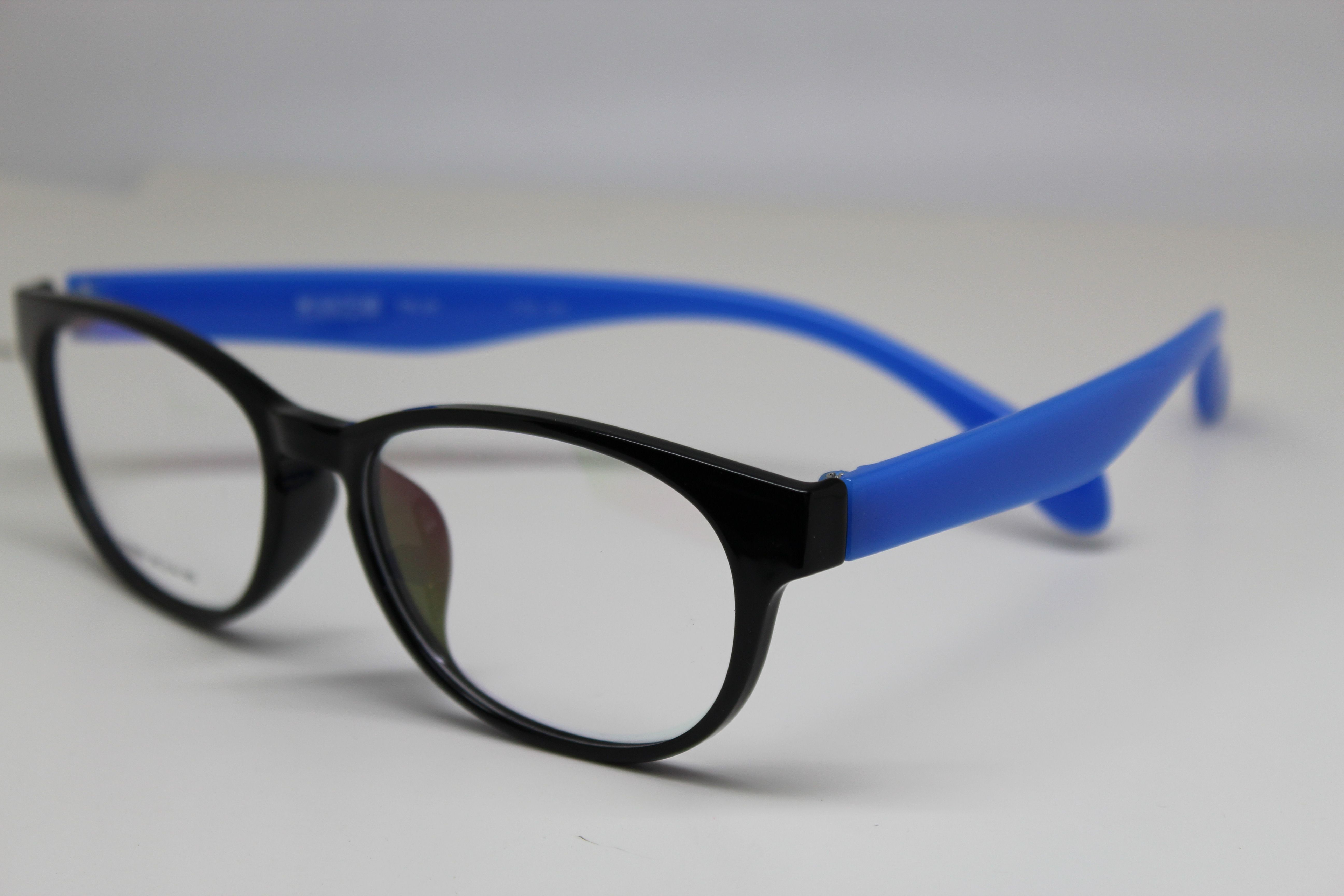 shiny blk & blue temples tr90 memory flex eyeglasses wear