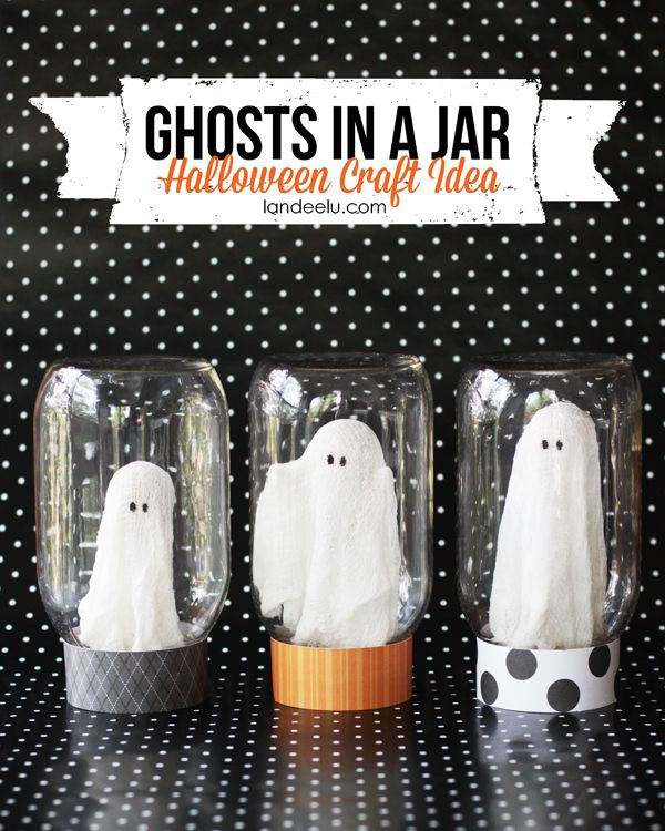 ghosts in a jar halloween craft - Halloween Crafts At Home