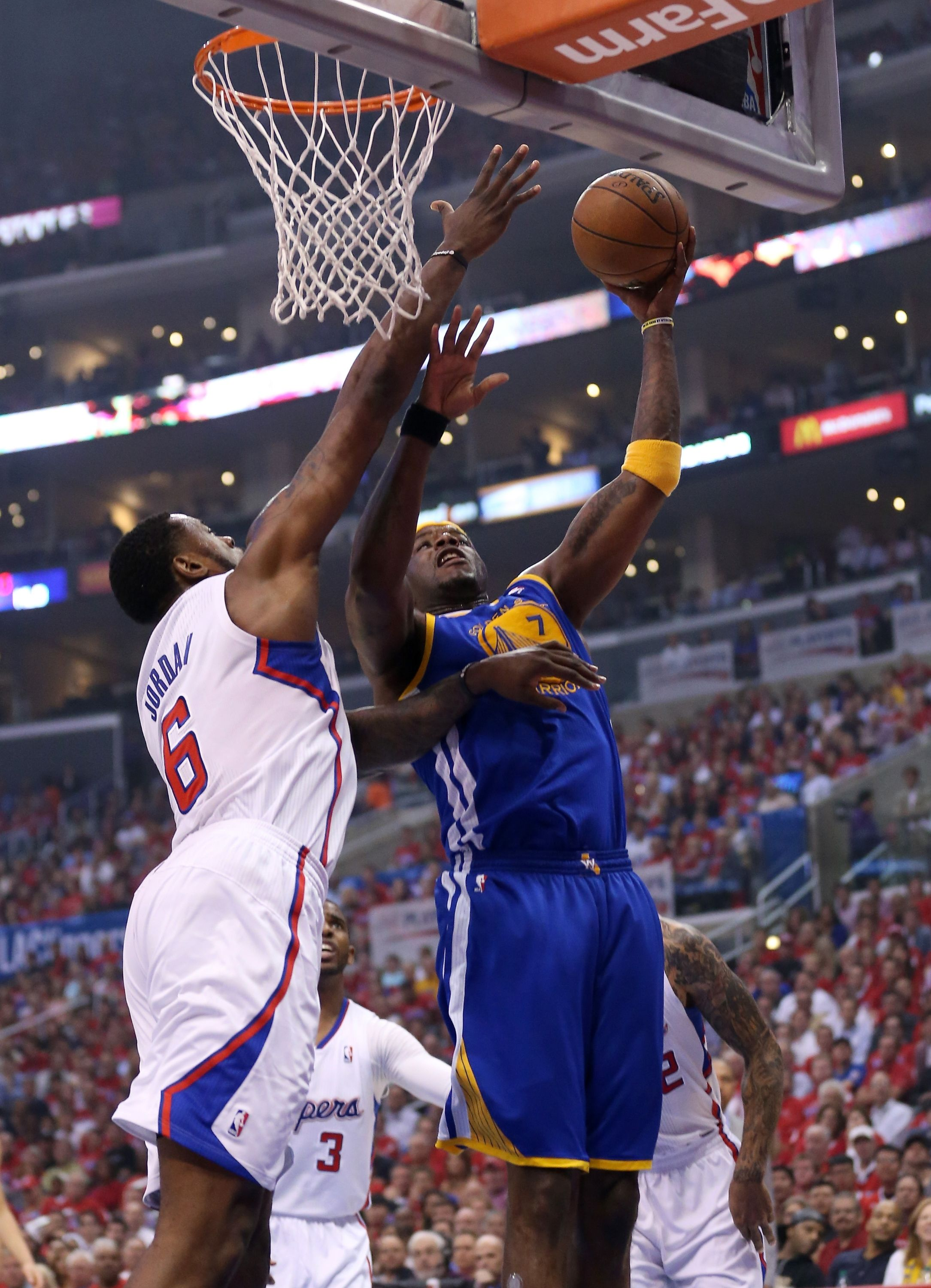 Los Angeles Ca April 21 Jermaine O Neal 7 Of The Golden State Warriors Shoots Over Deandre Jord Jermaine O Neal Los Angeles Clippers Golden State Warriors