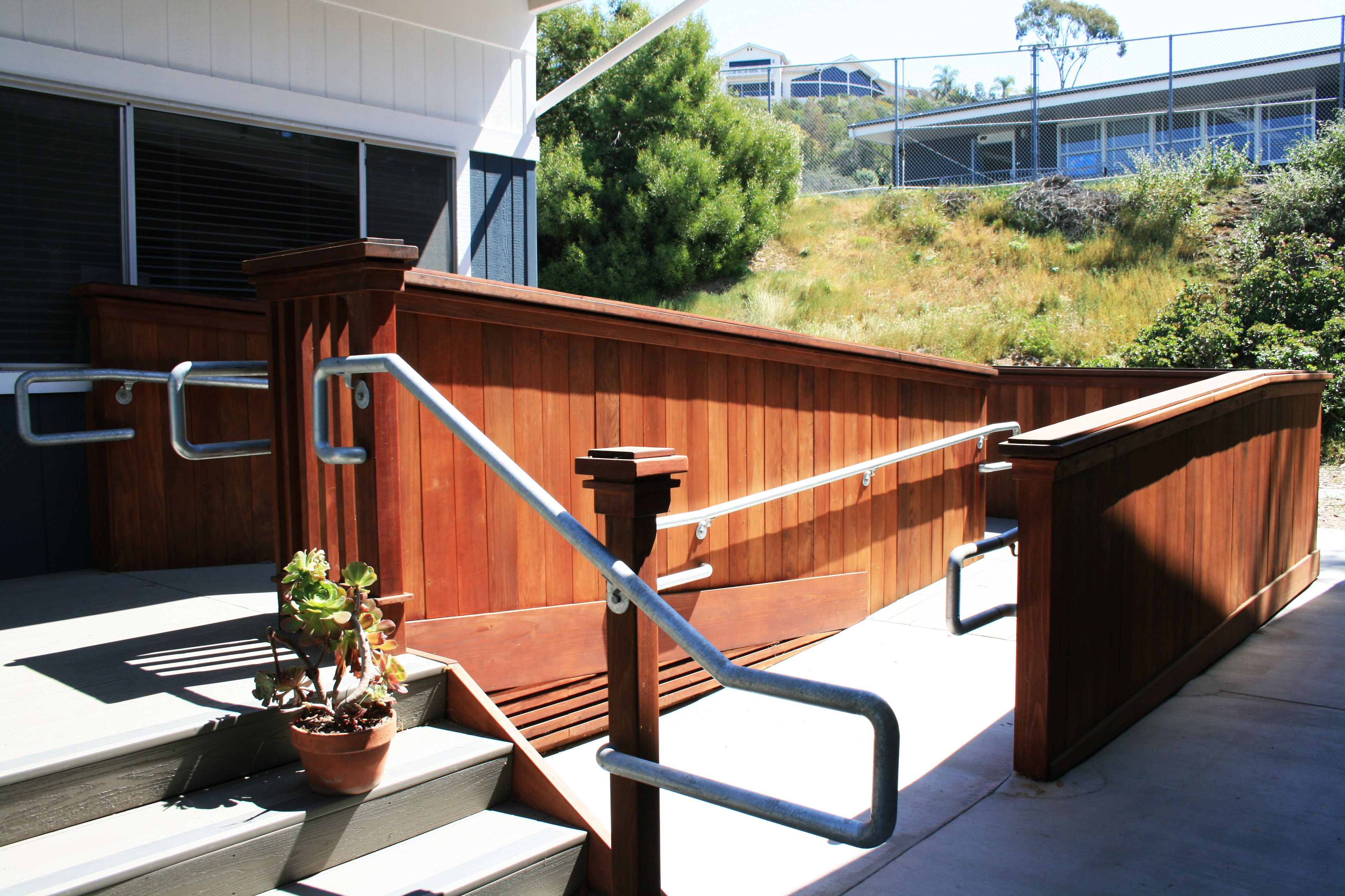 beautifully designed ada accessible ramp in front of modular