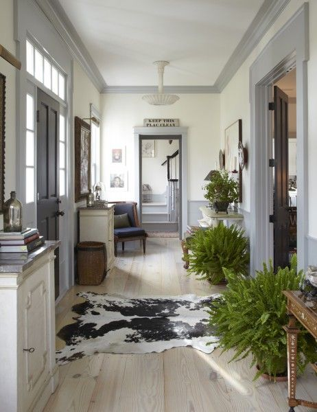 Grey Trim With White Ceiling And Cream Walls For Entry