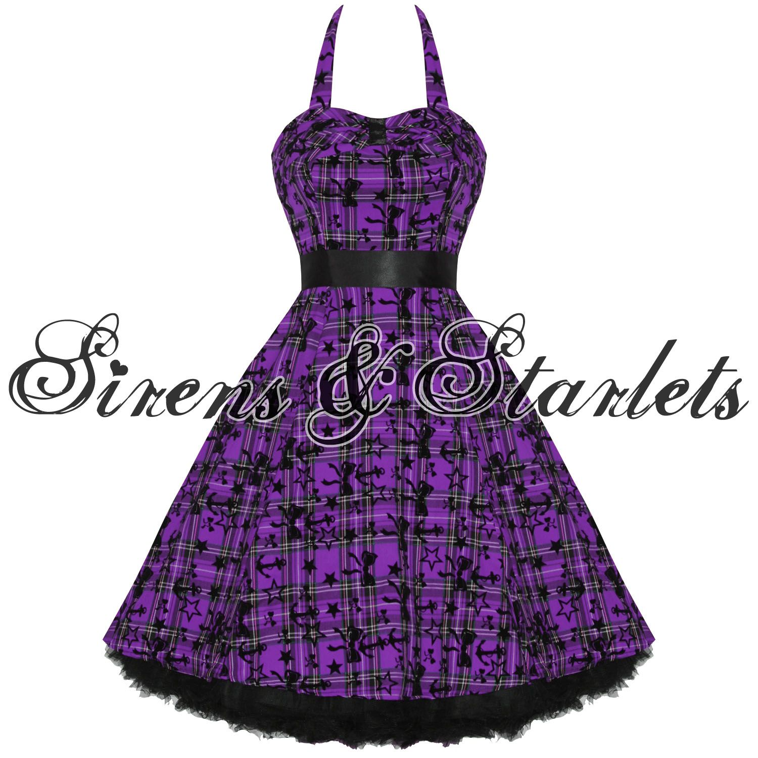 LADIES NEW HEARTS & ROSES LONDON PURPLE TARTAN TATTOO PUNK EMO PROM ...