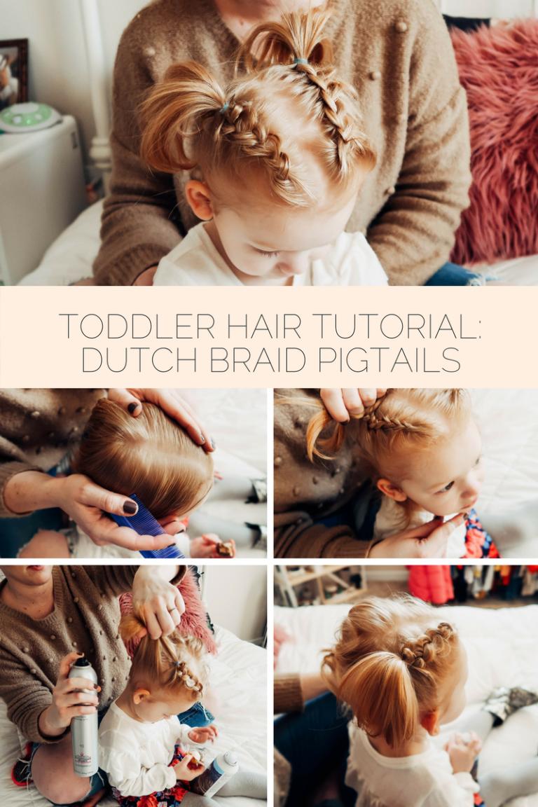 Toddler dutch braid pigtail tutorial baby hair styles pinterest
