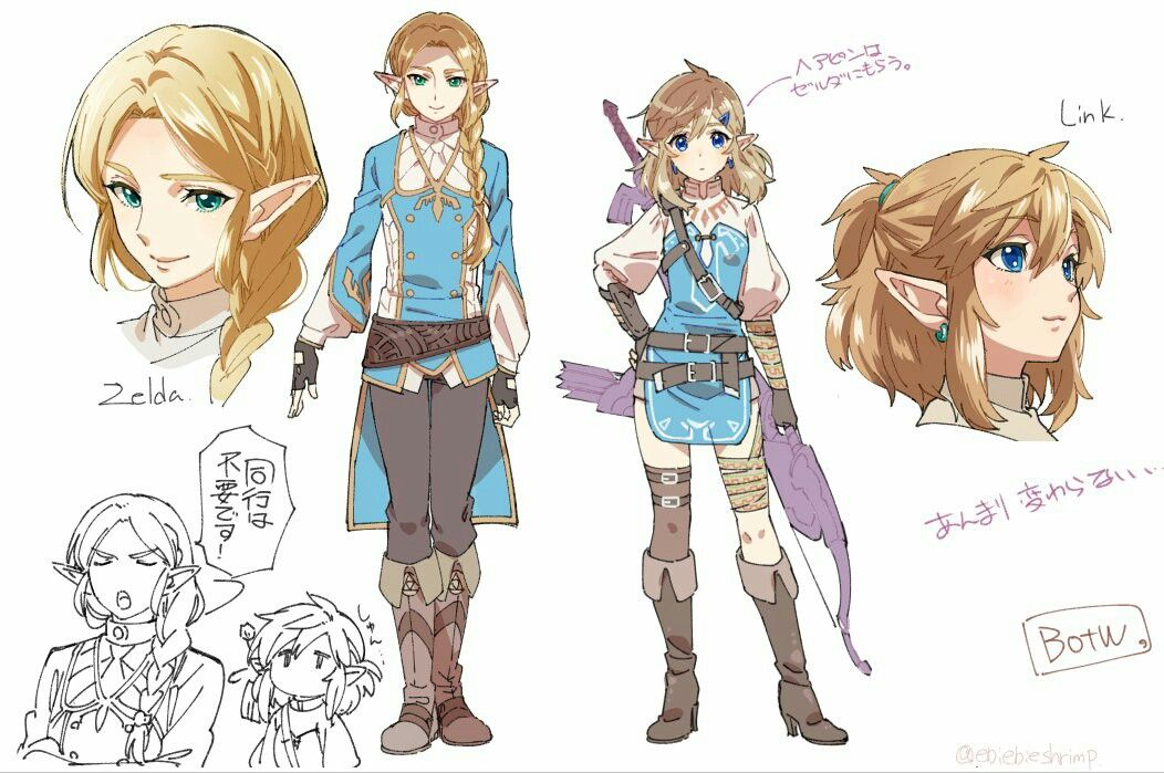 Character Design Challenge Zelda : Male female couple half elf high noble warrior