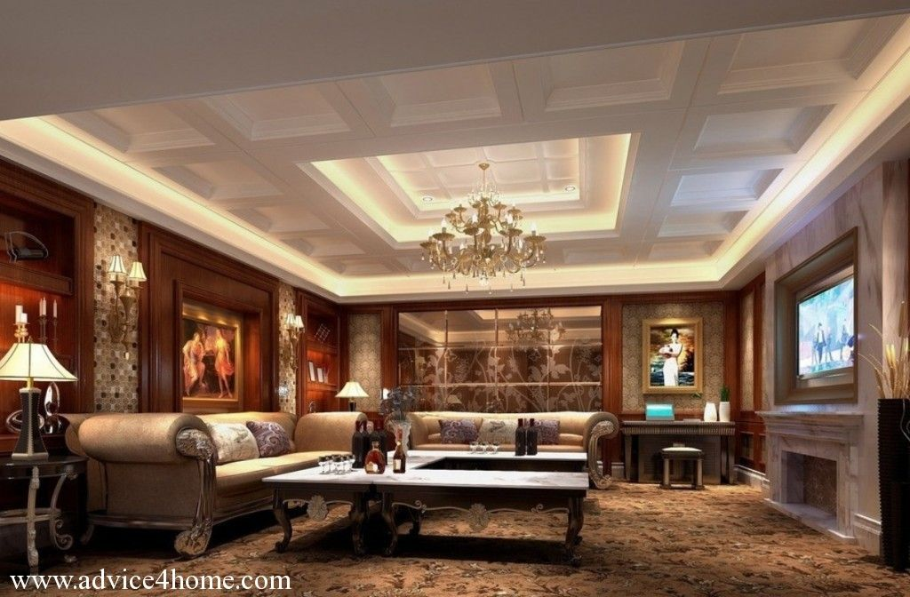 white square pop ceiling design and traditional sofa living room - Living Room Pop Ceiling Designs