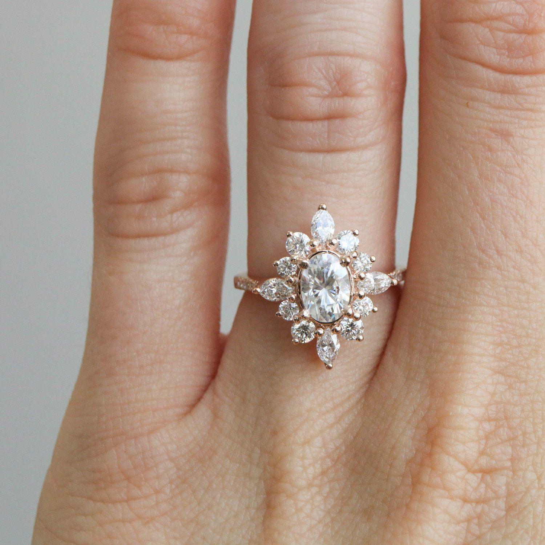 Art Deco 14K Rose Gold White Oval Gatsby Petite Diamond Wedding Ring 1.15 CT