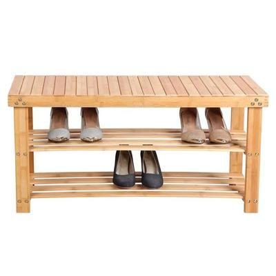 songmics tagre chaussures 100 bambou naturel 2 niveaux meuble rangement sige pour chausser 90 x 45 x 287 cm lbs90n