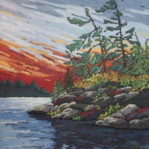 """Jennifer Woodburn """"Sunset Rocks"""" 40x40 inches, acrylic on canvas"""