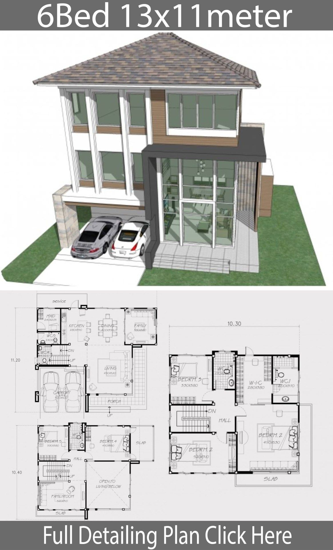 Home Design Plan 13x11m With 6 Bedrooms Home Design With Plansearch Home Design Plan House Design Master Bedroom Plans