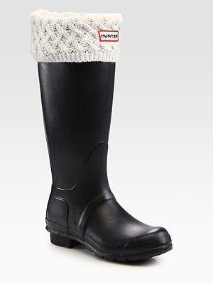 ae17c46cc92 Hunter - Basket-Weave Knit Cuff Welly Socks - Saks.com | Ahh, the ...