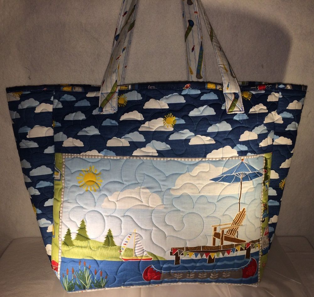 a03d1fbde Larger Quilted Tote Market Bag Handmade Let's Go Glamping Wilmington Fabric  | eBay