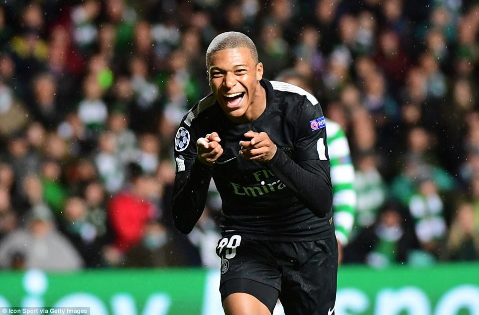 767cc79d318 Mbappe races off in celebration after scoring his first Champions League  goal for his new club at Parkhead
