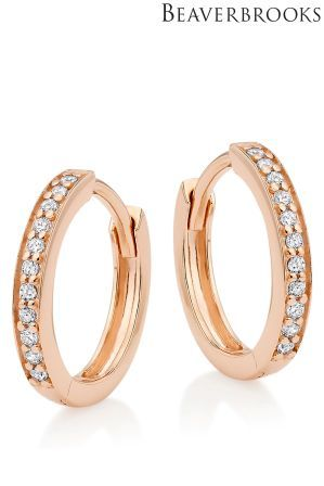 70b8d6d36 Womens Beaverbrooks Silver Rose Gold Plated Cubic Zirconia Hoop Earrings -  Silver
