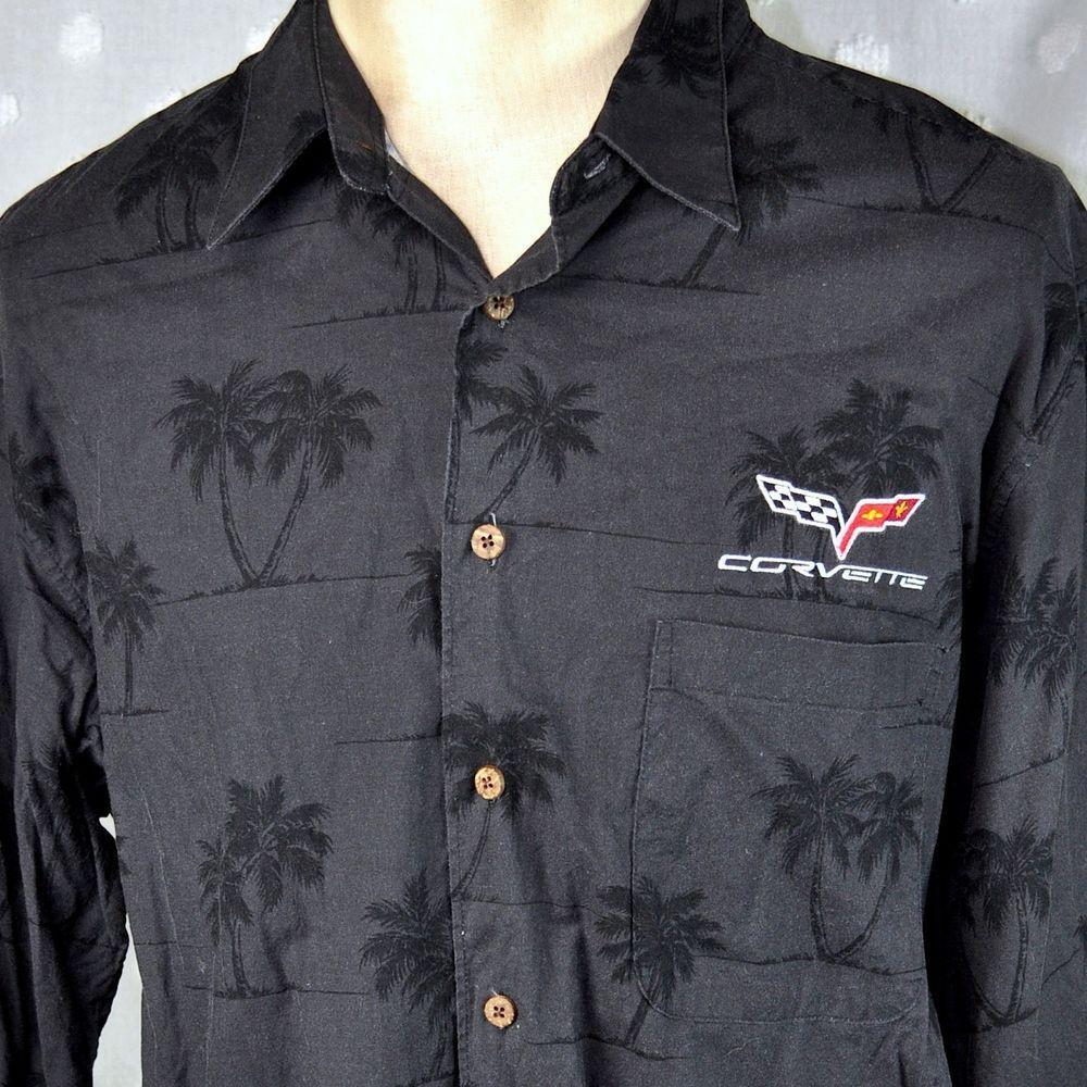 Reyn Spooner Corvette Sewn Logo Palms Xl Hawaiian Shirt Mens Black Chevy Aloha Reynspooner