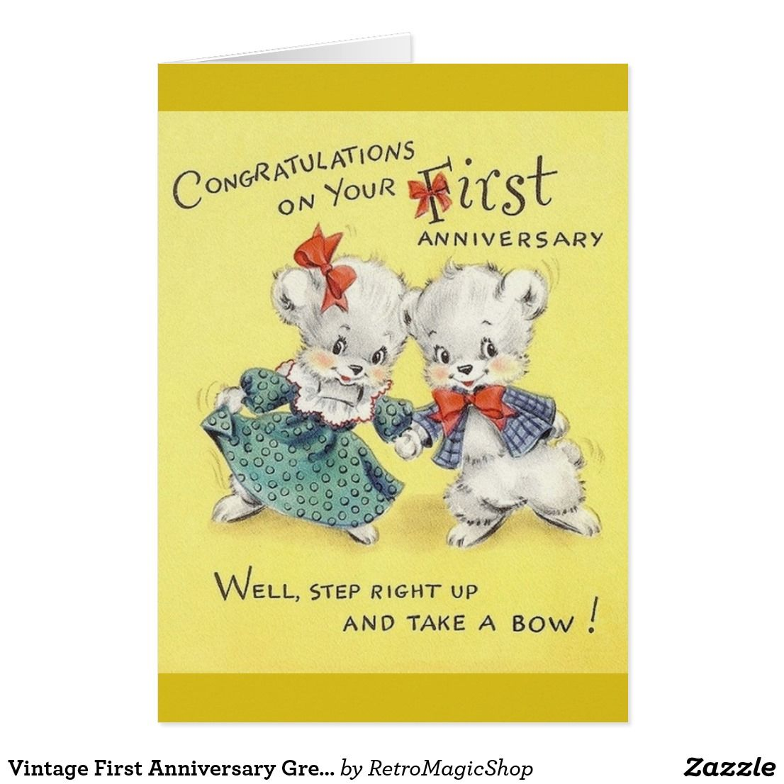 Vintage first anniversary greeting card vintage anniversary vintage first anniversary greeting card kristyandbryce Images