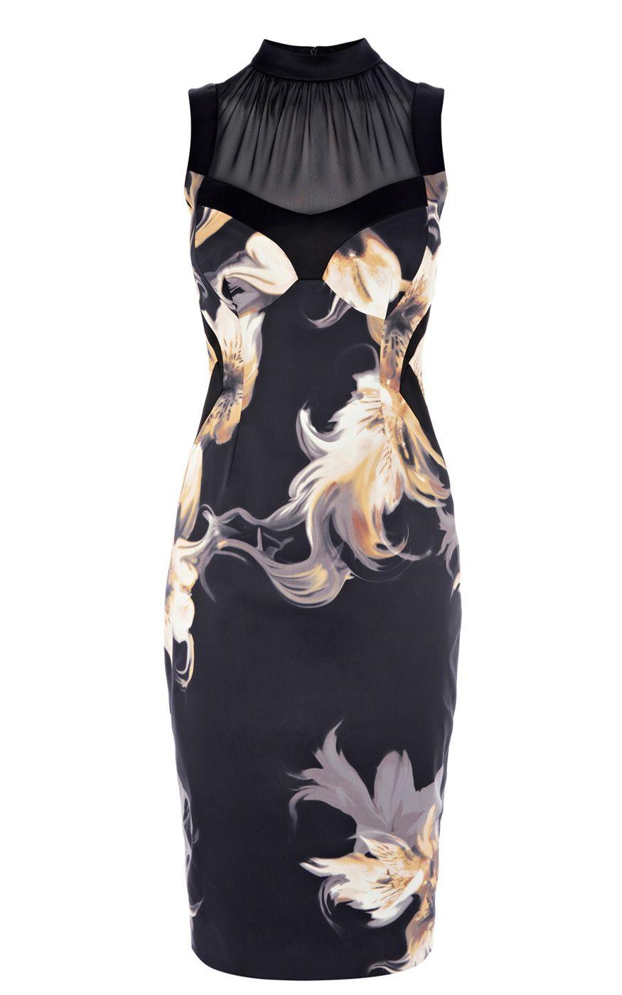 Karen millen sporty panelled bodycon dress black multi