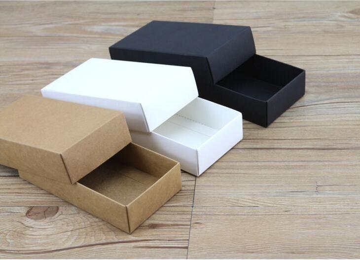 20pcs 19 sizes Black gift cardboard box brown kraft carton soap packing gift pap